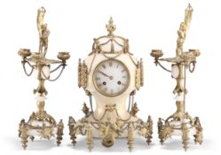 A FRENCH GILT-METAL MOUNTED ONYX CLOCK GARNITURE, 19TH CENTURY