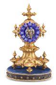 A 19TH CENTURY FRENCH GILT-BRONZE AND ENAMEL MANTEL CLOCK