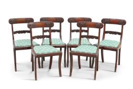 A SET OF SIX REGENCY ROSEWOOD DINING CHAIRS