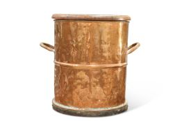 A 19TH CENTURY COPPER TWO HANDLED BARREL