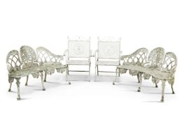 A PAIR OF WHITE PAINTED CAST IRON GARDEN BENCHES AND FOLDING CHAIRS