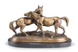 AFTER P.J. MÊNE, A BRONZE GROUP OF TWO HORSES