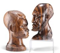 TWO AFRICAN HEAD CARVINGS