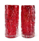 A PAIR OF WHITEFRIARS RUBY GLASS BARK VASES