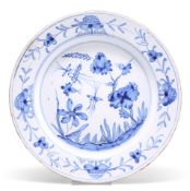 AN ENGLISH DELFT BLUE AND WHITE PLATE, PROBABLY LIVERPOOL