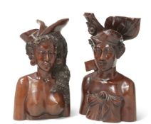 TWO BALINESE CARVED BUST