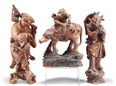 THREE 19TH CENTURY CHINESE WOODEN CARVINGS