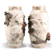 A LARGE PAIR OF JAPANESE SATSUMA VASES WITH APPLIQUÉ DECORATION