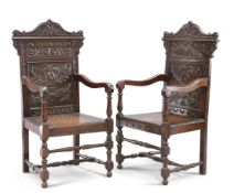 A PAIR OF 17TH CENTURY STYLE OAK WAINSCOT CHAIRS