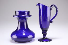 AN EARLY 19TH CENTURY BRISTOL BLUE GLASS JUG AND BULB VASE