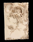 A ROCOCO REVIVAL IVORY AIDE DE MEMOIRE, CIRCA 1870