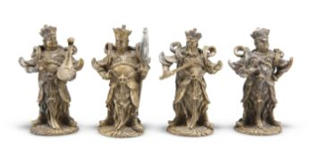 A SET OF FOUR CHINESE GILT-BRONZE FIGURES, 19TH CENTURY