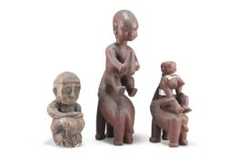 THREE TRIBAL CARVED FIGURES