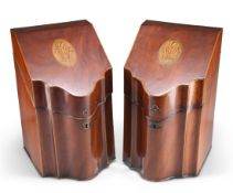 A PAIR OF GEORGE III INLAID MAHOGANY SERPENTINE KNIFE BOXES