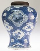 A CHINESE BLUE AND WHITE PORCELAIN GINGER JAR, 18TH CENTURY