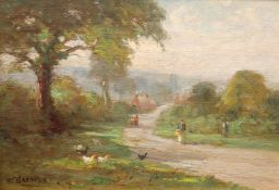 WILLIAM GREAVES (1852-1938), CHICKENS AND FIGURES ON A PATH