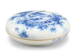 A CHINESE BLUE AND WHITE PASTE SEAL BOX