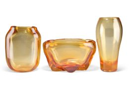 THREE PIECES OF WHITEFRIARS GOLDEN AMBER GLASS