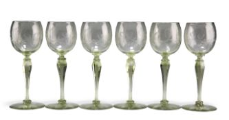 A SET OF SIX CONTINENTAL ART DECO ENGRAVED HOCK GLASSES
