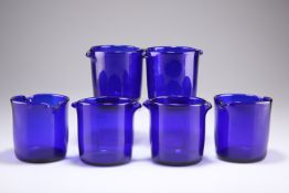 A SET OF SIX EARLY 19TH CENTURY BRISTOL BLUE GLASS RINSERS