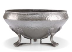 OLIVER BAKER FOR LIBERTY & CO, A TUDRIC PEWTER FOOTED BOWL