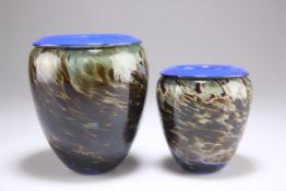 TWO WILL SHAKSPEARE STUDIO GLASS VASES