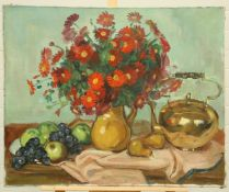 CONTINENTAL SCHOOL, STILL LIFE OF A VASE OF FLOWERS, FRUIT AND TEAPOT