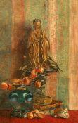 19TH CENTURY SCHOOL, STILL LIFE OF BUDDHA FIGURE, BOOKS AND FRUIT