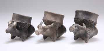 A GROUP OF THREE ZAMBIAN KAFUE RIVER POTTERY PIPE BOWLS