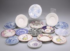 A COLLECTION OF SIXTEEN 19TH CENTURY POTTERY SMALL DISHES