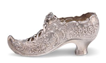 A VICTORIAN SILVER MODEL OF A SHOE