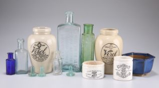 Stoneware beer bottles, paste and potted meat pots, large pair of covered vases, etc.