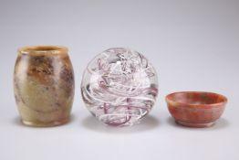 A soapstone vase, 8cm high, a soapstone bowl 6cm diameter, aLangham glass paperweight (3)