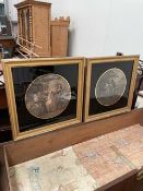 After Warland, pair, in verre eglomise frames;together with a large framed print after Haige,