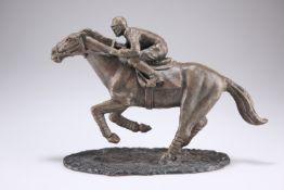 Bronze buddha, wooden carving, Edwardian brass desk lamp, cast horse racing model, etc.