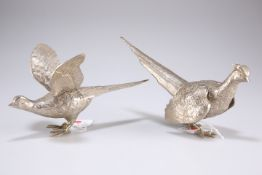 A pair of silver-plated pheasants