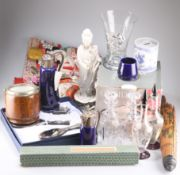 Italian silver-plated dressing table set, three Wade Falstaff China and silver plated wares, a blanc