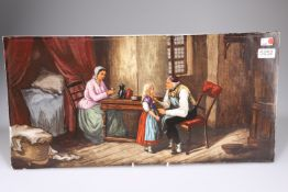 A large ceramic tile hand painted with a Victorian genre scene, 60cm by 30cm