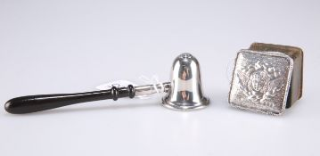 A silver mounted stamp box and silver snuffer