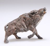 A small cold-painted spelter model of a wild boar, early 20th Century