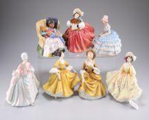 Seven Royal Doulton figures, Diana HN 3266, Sunday Best, HN2206, The Skater HN 2117, Sweet Dreams,