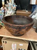 A pokerwork bowl, circa 1900