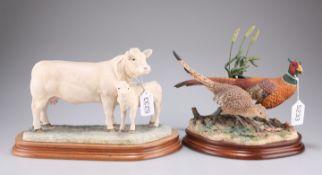 A Border Fine Arts figure of a Charolais cow and calf, 26cm long (ear a/f) and a Border Fine Arts fi