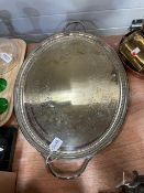A silver-plated two handled tray, by W.S Burton. 63.5cm over handles