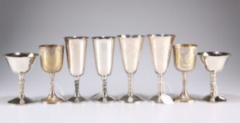 Four pairs of silver-plate goblets