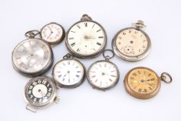 Assorted silver-cased and other pocket watches and watch faces