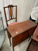 An Edwardian inlaid mahogany chair and drop leaf occasional table