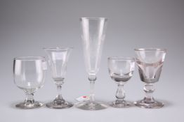 A group of five Victorian glasses, tallest 18cm high