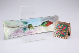 A copper and enamel box, 5.5cm by 5cm and a R.R. Limoges enamel rectangular dish, 20cm long