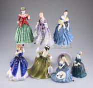 Seven Royal Doulton figures, Holly HN3647, Simone HN2378, Nicola HN 2839, Adrienne HN2304, Pensive